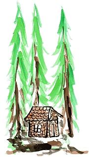 perníková calúpka v lese