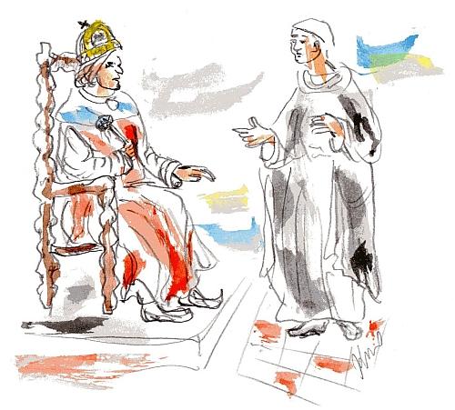 farár (alebo biskup), kráľ Matej (alebo Corvin Mátyás) a desiatky